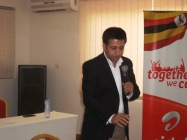 Airtel Managing Director Arindam Chakrabarty at the Airtel Brand relaunch from Bomah hotel in Gulu.