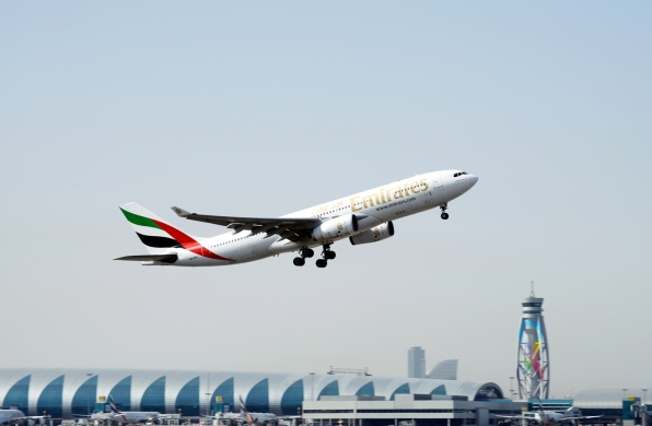 An Emirates A330-200 departing Dubai International Airport