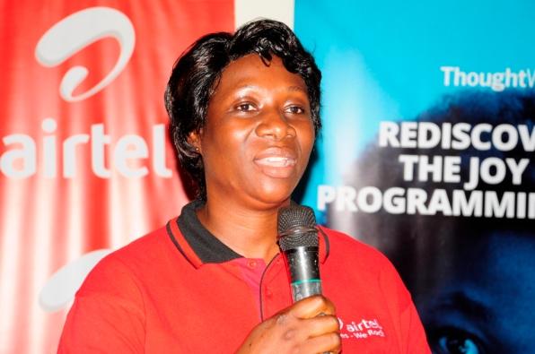 Jael Christine Wawulira, Customer Services Director, Airtel Uganda speaking at the Girl Geek Dinner