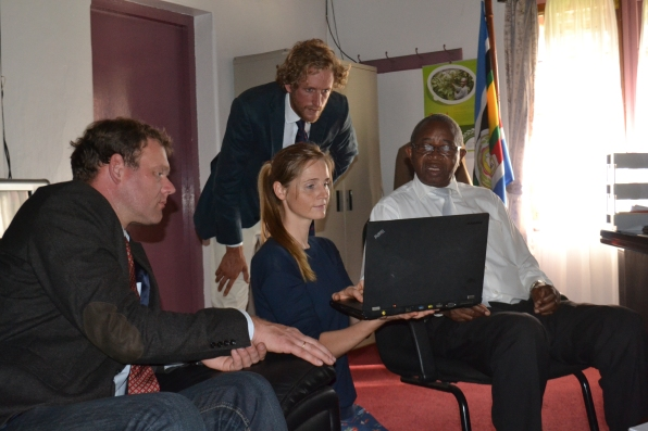 Ms. Leweke von Hoff, Head of Corporate Social Responsibility at Amatheon Agri shows the Minister of Agriculture, Animal Industry and Fisheries, Hon. Tress Bucyanayandi, some of Amatheon activities in Uganda