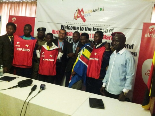 Airtel Team with the Afrika Mashariki Fest Team and prominent sports personell pose for a photo.
