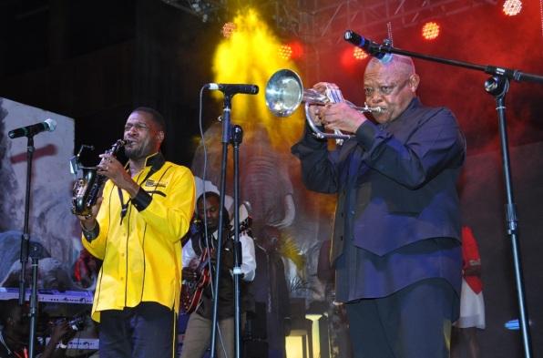 Isaiah Katumwa performs with Hugh Masekela