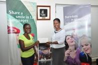 One of the winners, Anne Ssemwanga with Emirates Sales Manager Uganda, Noelene Nyonga