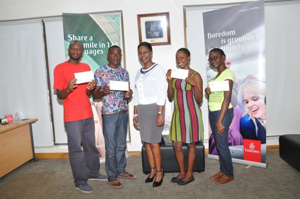 Winners of the Emirates Value For Money Compettition with Noelene Nyonga, Emirates Sales Manager