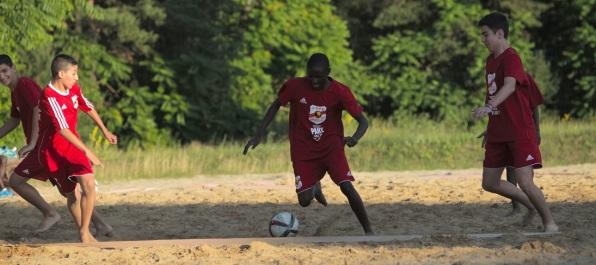 Beach football at the camp
