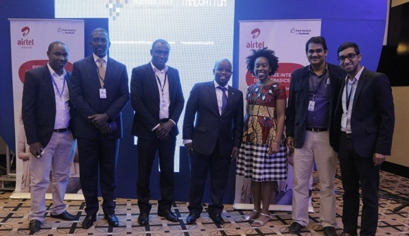 Airtel Rwanda team with Hon Jean Philbert Nsengimana - Ministry of Youth and ICT (middle) at the launch of Freebasics.com during the Transform Africa Summit 2015