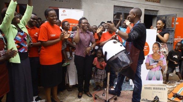 Airtel Uganda employees led by HR Director Ms. Flavia Ntambi hand over hair driers and other tools to Pelletier Teenage Mothers foundation