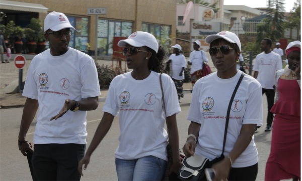 Some of the Airtel Rwanda Staff during the Breast Cancer Wareness Walk in Kigali