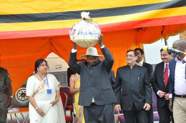 The President of Uganda HE Yoweri Kaguta Museveni carries a gift given t...