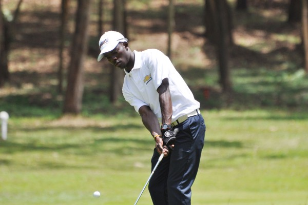 Ronald Otile drives a shot as he seeks to retain his Tusker Malt Uganda Open title